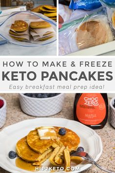 Many say breakfast is the most important meal of the day, so skipping out on a warm hearty meal in the morning might sound like a drag. What's worse, all the time spent making a big breakfast! Today I'm sharing an easy way to meal prep a large batch of pancakes to freeze for future use! #keto #breakfast #mealprep #pancakes