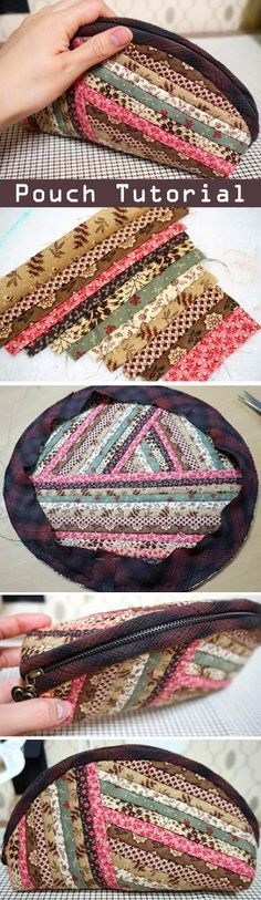 Quilts Zippers Pouch, Cosmetics Bag. DIY tutorial in pictures. Quilting and patchwork. http://www.handmadiya.com/2015/09/quilts-zippered-pouch-tutorial.html