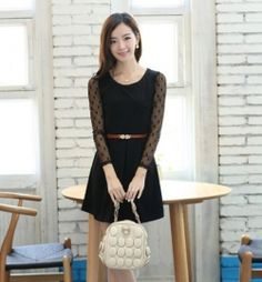 J73407 Lace Dot Long Sleeve Slim Dress [J73407] - $9.21 : China,Korean,Japan Fashion clothing wholesale and Dropship online-Be the most beautiful Lady