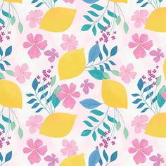Carly Watts Art & Illustration: Limoncello #pattern #digitalart #lemon #citrus #fruit #surfacedesign #floral #flowers #botanical