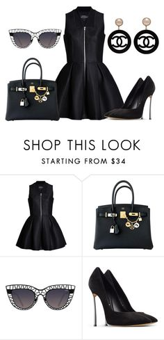 """BLACK SERIES"" by samstyles001 on Polyvore featuring Hermès, Quay, Casadei and Chanel"
