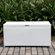 Shop a great selection of Wicker Patio Storage Deck Box White. Find new offer and Similar products for Wicker Patio Storage Deck Box White. Wicker Storage Trunk, Outdoor Storage Boxes, Patio Storage, Furniture Storage, Wicker Trunk, Storage Sheds, Storage Benches, White Wicker Patio Furniture, Outdoor Furniture