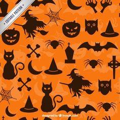 Pattern com as silhuetas do Dia das Bruxas