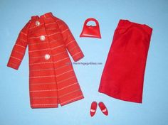 BARBIE Japanese Exclusive Red Striped Coat Set