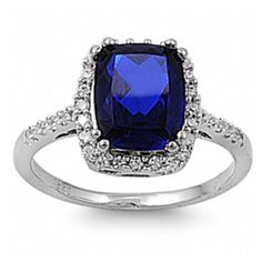 Alice's Deep Sapphire Blue Emerald Cut Engagement Ring ($48) ❤ liked on Polyvore