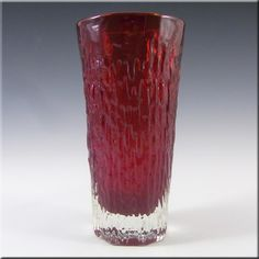 Whitefriars/Baxter Ruby Red Glass Textured Vase 9831 - £60.00