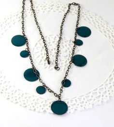 Green disc chain necklace  st. Patric's day by jewlerystar on Etsy