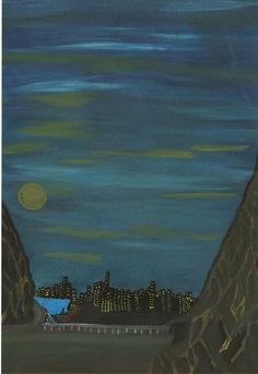 Night sky and moon with city scape Original Signed Oil Painting, on canvas paper on Etsy, $100.00