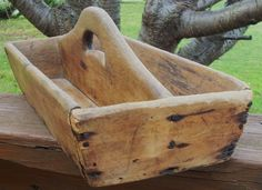 Wood Cutlery Tray Primitive Carrier