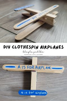 This airplane craft is not only an easy craft for kids to make but it's also a super fun craft! This simple and fun activity for kids uses only a few items and can be done in as little as five minutes! Your airplane-loving kid will love it! | easy activities for kids | airplane crafts | arts and crafts for kids via @kheylapehlke Diy Projects For Kids, Crafts For Kids To Make, How To Make Diy, Fun Crafts, Alphabet Activities, Fun Activities For Kids, Activity Ideas, Kids Airplane Crafts, Parallel Parenting