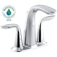 Kohler Refinia 4 inch Centerset 2-Handle Bathroom Faucet in Polished Chrome - 1.5 GPM