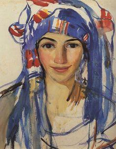Self Portrait Wearing a Scarf (1911)  by Zinaida Serebriakova (1884-1967)