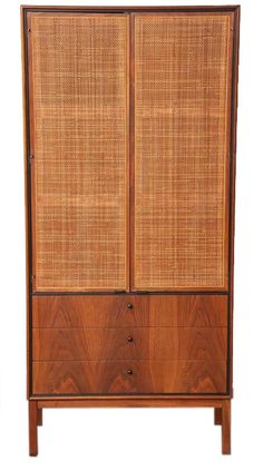 Knoll Matched Pair of Caned Cabinets, circa 1950s | From a unique collection of antique and modern cabinets at https://www.1stdibs.com/furniture/storage-case-pieces/cabinets/