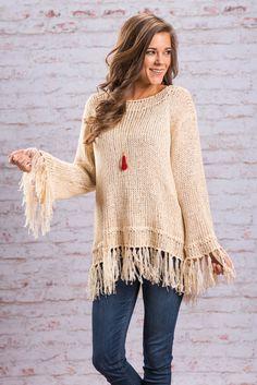 Fall Fringe Trim Sweater - Cream - The Mint Julep Boutique