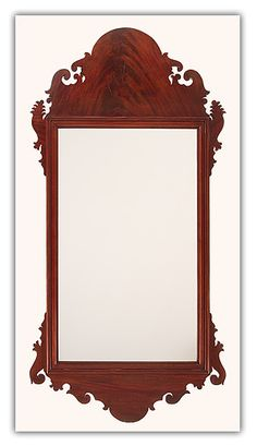 """Fine Hepplewhite Mahogany Looking Glass of a beautiful large size having a molded inside mirror border and nicely executed scrolling throughout.    Philadelphia, circa 1810.    Size:  50 3/4"""" X 25 1/4""""."""