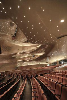 Opera in China Designed by Zaha Hadid: Tips for visiting Guangzhou Opera House… Theater Architecture, Futuristic Architecture, Contemporary Architecture, Architecture Details, Interior Architecture, Arquitectos Zaha Hadid, Auditorium Design, Zaha Hadid Design, New York Christmas
