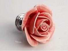 Pink Rose Flower Knobs/ Dresser Knobs / Ceramic Drawer by LBFEEL