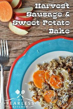 Harvest Sausage & Sweet Potato Bake from My Fearless Kitchen. Sausage, sweet potato, and apples are a tasty combination any time of year in this easy-to-make Harvest Sausage & Sweet Potato Bake recipe. Ground Pork Sausage Recipes, Pork Recipes, Healthy Recipes, Healthy Food, Yummy Food, Savory Sweet Potato Recipes, Sweet Potato And Apple, Spring Recipes, Winter Recipes