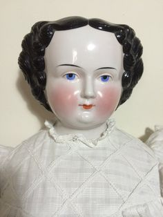 30.5 Antique German China Shoulder Head Doll w/ Original
