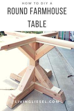 How to DIY a Round Farmhouse Dining Table – farmhouse table Furniture Projects, Home Projects, Diy Furniture, Furniture Design, Chair Design, Modern Furniture, Round Farmhouse Table, White Farmhouse, Farmhouse Ideas