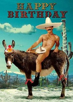 Happy Birthday Greetings Card - Mexican on a Donkey - by Max Hernn