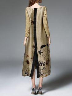 V Neck Floral Print Long Sleeve Vintage A-line Midi Dress