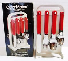 Oneida Northland Stainless Flatware Color Mates - Red 24 Piece Service for 6 #Oneida ..... Visit all of our online locations ..... (www.stores.eBay.com/variety-on-a-budget) ..... (www.amazon.com/shops/Variety-on-a-Budget) ..... (www.etsy.com/shop/VarietyonaBudget) ..... (www.bonanza.com/booths/VarietyonaBudget ) .....(www.facebook.com/VarietyonaBudgetOnlineShopping)