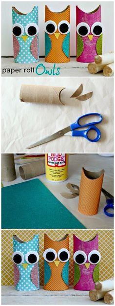 Toilet Paper Roll Crafts - Get creative! These toilet paper roll crafts are a great way to reuse these often forgotten paper products. You can use toilet paper rolls for anything! creative DIY toilet paper roll crafts are fun and easy to make. Kids Crafts, Owl Crafts, Cute Crafts, Toddler Crafts, Projects For Kids, Diy For Kids, Easy Crafts, Diy Projects, Easy Diy