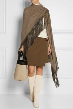 FINDS + Barbajada leather-fringed cashmere shawl €762.34 http://www.net-a-porter.com/products/547632