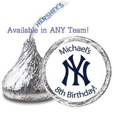 108 Personalized BASEBALL BIRTHDAY Party Favors Candy Kiss Labels Stickers - ALL Teams Available on Etsy, $8.00