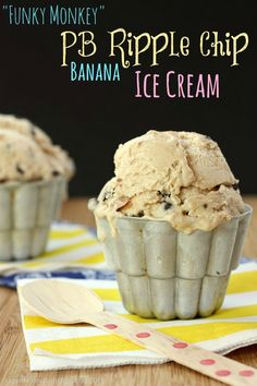 """""""Funky Monkey"""" PB Ripple Chip Banana Ice Cream - it's easy to make the best ice cream ever for peanut butter and chocolate lovers! 