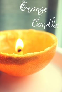 DIY Orange Candle: Keep peel intact with the center stem, pour in bottom 1/2 way with olive oil. Cut a pattern (star) out of top half, light the stem, it will act as a wick. and put lid on, will burn about 45 mins or so and smell amazing!