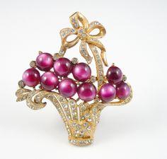 Vintage Basket of Flowers Brooch Purple Lucite Moonglow Rhinestone Pin Book Piece