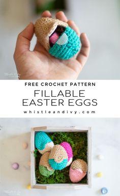 Fillable Crochet Easter Eggs - Free Crochet Pattern - Whistle and Ivy Fillable Crochet Easter Eggs - Free Pattern Crochet Food, Crochet Bear, Crochet Crafts, Yarn Crafts, Crochet Projects, Free Crochet, Crochet Cupcake, Crochet Birds, Crochet Animals