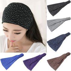 bd29bee0f3e Women Lady Rhinestone Headwear Turban Twist Headband Head Wrap Soft Hair  Band https