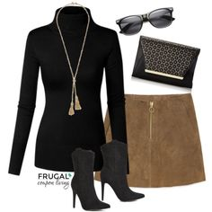 Frugal Fashion Friday Fall Suede Skirt Outfit on Frugal Coupon Living - Black Booties, Brown Suede Skirt, Gold Necklace, and Black Sunglasses. Fall Fashion, outfit of the day