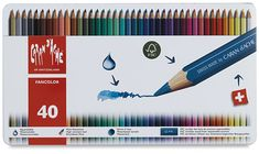 Set of 40 Caran d'Ache Fancolor Watercolor Pencils | Best to use on grown-up coloring projects.