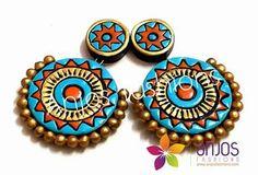 Terracotta Earrings Terracotta Jewellery Making, Terracotta Jewellery Designs, Terracotta Earrings, Quilling Jewelry, Bead Jewellery, Jewelry Crafts, Handmade Jewelry, Polymer Clay Pendant, Polymer Clay Earrings