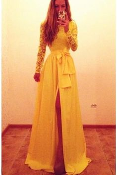 Yellow Bateau Neck Floor Length Chiffon A Line Prom Evening Dress