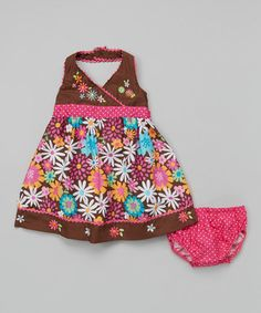 Look what I found on #zulily! Brown Floral Swing Dress - Infant, Toddler & Girls #zulilyfinds