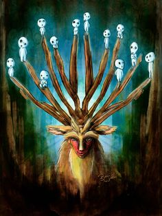 Mononoke Deer God Shishigami Tradigital Painting by studiomuku