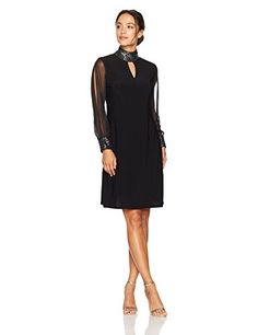 New R M Richards Women's Petite One Piece Sheer Sleeved Little Black Dress online. Perfect on the Lusiisss Dresses from top store. Sku yimw41177ixcl15874