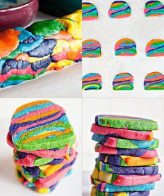 Rainbow Tie-Dye Cookies-This recipe is perfect for the family: Everyone picks a batch of dough, each, to dye a different color, and then you form the whole thing into a log and simply slice and bake.