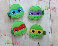 TMNT Teenage Mutant Ninja Turtle - Green - Red - Blue - Orange - Purple - Felt Hair Clips for Newborns, Girls, Toddlers and Babies