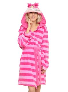 "<p>Fleece robe from Disney's <i>Alice in Wonderland</i> with an allover Cheshire Cat design including a belted waist and hood.</p>  <ul> 	<li><span id=""bullet0"">100% polyester </span></li> 	<li>Wash cold; dry low</li> 	<li>Imported</li> 	<li>Listed in junior sizes</li> </ul>"