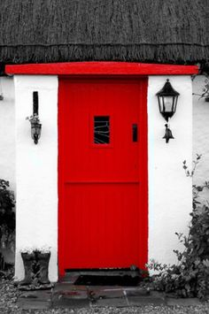 Red cottage door with thatched roof in Donegal, Ireland. Now that's a red door! Cottage Door, Red Cottage, Cozy Cottage, Cool Doors, Unique Doors, Porte Design, Best Front Doors, When One Door Closes, Irish Cottage