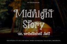 Midnight Story Font Family by theinkaffair on Halloween Fonts, Halloween Design, Halloween Goodies, Halloween Season, Hand Lettering Quotes, Typography Logo, Logos, Spooky Font, Swirly Fonts