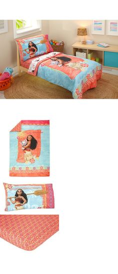 Kids Bedding: New Disney Moana Toddler 4 Piece Bedding Set -Quilt Sheets Pillowcase BUY IT NOW ONLY: $34.99