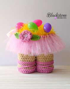 Ballerina Tutu Gift Basket crochet pattern from Blackstone Designs Perfect for gifting to your favorite ballet fan! Makes a great Easter basket and instructor's gift too!