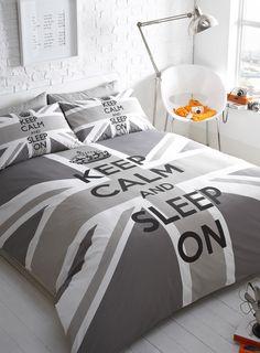 Grey Keep Calm Union Jack Bedding Set Single Duvet Cover 1 X Pillowcase Double Pillowcases Kingsize